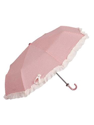 Taske paraply i lyserød med prikker.
