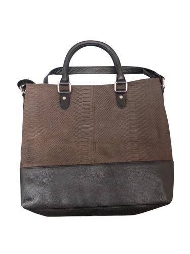 Shopper skindtaske i brun og sort